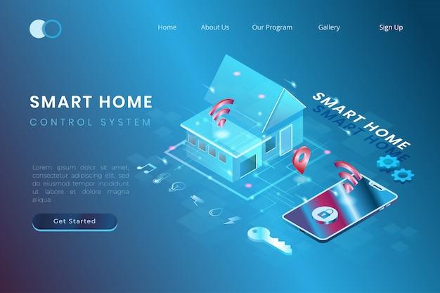 Illustratie van een slim huis dat is geautomatiseerd met een slimme telefoon, iot controlesysteem in isometrische 3d-stijl