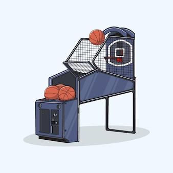 Illustratie van een speelgoedbasketbalmachine
