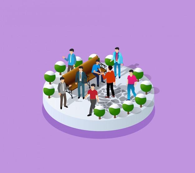 Illustratie van een stedelijk park