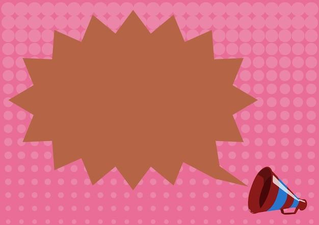 Illustratie van een stekelige chat cloud aangekondigd door een megafoon. bullhorn-tekening stuurt een belangrijk bericht naar iedereen. horn picture wil iedereen een nieuwtje vertellen.