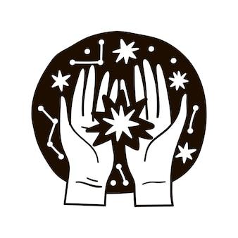 Illustratie van een ster in handen tegen de nachtelijke hemel