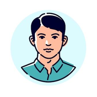 Illustratie van een stijlvolle jonge man. avatar van een man voor profiel.