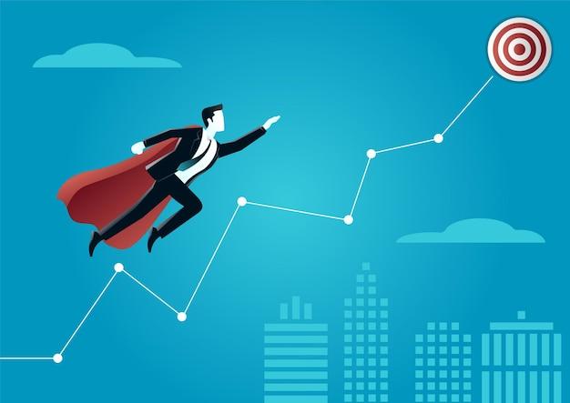 Illustratie van een super zakenman die naar het doel vliegt. beschrijf het bereiken van een doel.