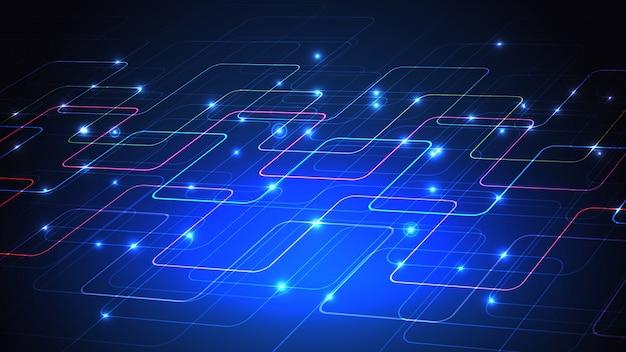 Illustratie van een technotechnologieontwerp van lichtgevende lijnen op een donkerblauwe achtergrond.