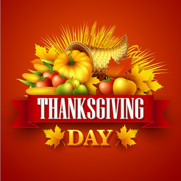 Illustratie van een thanksgiving-hoorn des overvloeds vol oogst groenten en fruit. val groet ontwerp. herfst oogstfeest. pompoen en bladeren. vectorillustratie eps10