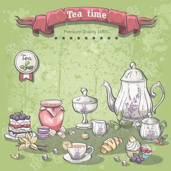 Illustratie van een theeservies met een potje jam, muffins, taarten en croissants