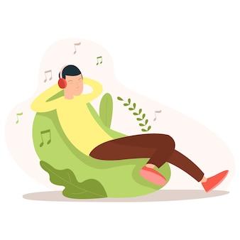 Illustratie van een tiener die een muziek luistert terwijl hij in de ochtend op een stoel zit