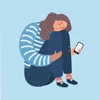 Illustratie van een tienermeisje dat huilt om wat ze op haar telefoon zag