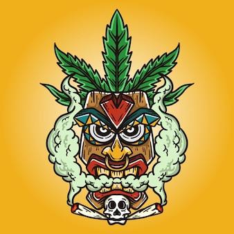 Illustratie van een tiki-masker met een schedel op zijn kin en een cannabisblad op zijn hoofd op gele achtergrond