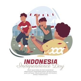 Illustratie van een touwtrekwedstrijd op de onafhankelijkheidsdag van indonesië