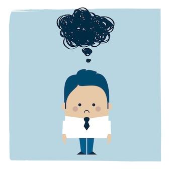 Illustratie van een trieste zakenman onder een donkere wolk