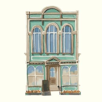 Illustratie van een uitstekend europees gebouw buiten in waterkleur