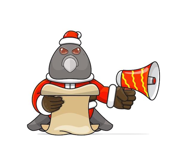 Illustratie van een uniek humanoïde duifdier dat een kostuum draagt dat een megafoon vasthoudt en script leest