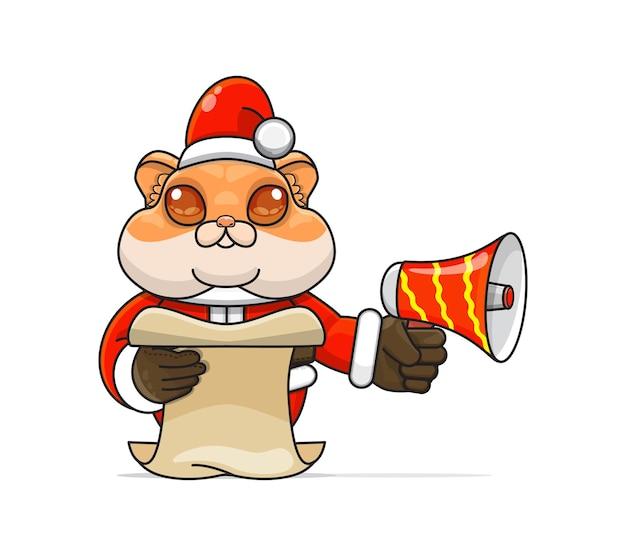 Illustratie van een uniek humanoïde hamsterdier dat een kostuum draagt dat een megafoon vasthoudt en script leest