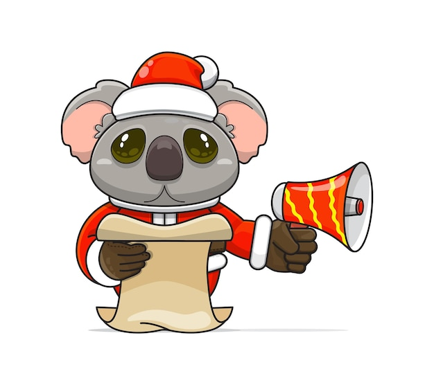 Illustratie van een uniek humanoïde koaladier dat een kostuum draagt dat een megafoon vasthoudt en script leest