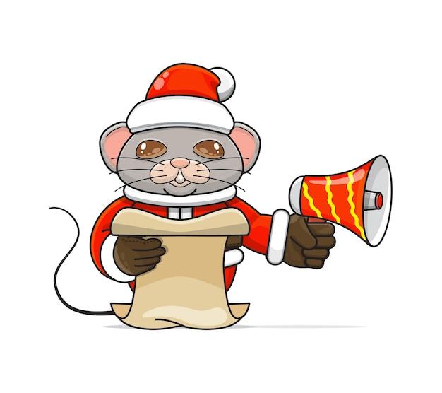 Illustratie van een uniek humanoïde muisdier dat een kostuum draagt dat een megafoon vasthoudt en script leest