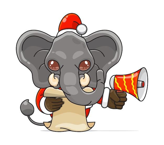 Illustratie van een uniek humanoïde olifantsdier dat een kostuum draagt met een megafoon gelezen script