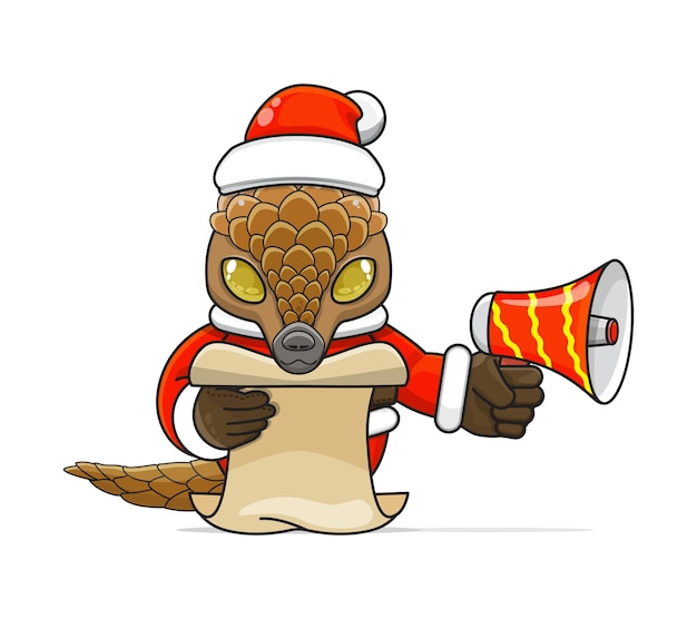 Illustratie van een uniek humanoïde pangoli-dier dat een kostuum draagt dat een megafoon vasthoudt en script leest