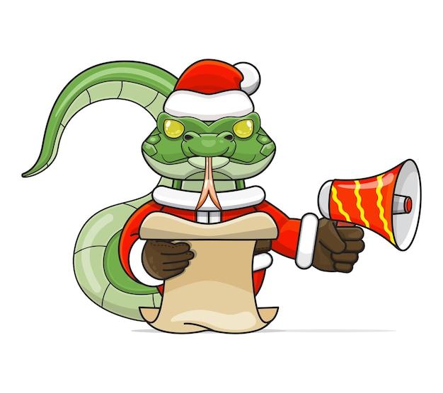 Illustratie van een uniek humanoïde slangdier dat een kostuum draagt met een megafoon en een leesscript