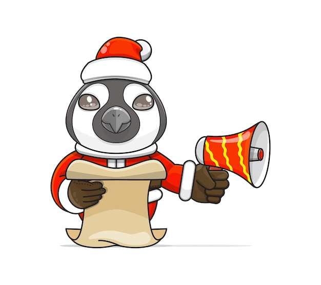 Illustratie van een uniek mensachtig pinguïndier dat een kostuum draagt dat een megafoon vasthoudt en script leest