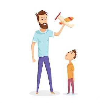 Illustratie van een vader en zijn jonge zoon spelen met speelgoedvliegtuigen