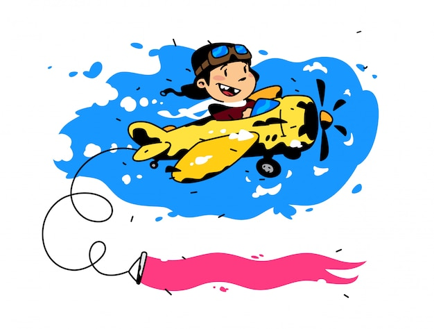Illustratie van een vliegende jongen piloot op een vliegtuig.