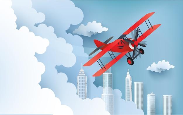 Illustratie van een vliegtuig over een wolk.