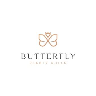 Illustratie van een vlinderontwerplogo met een kroon, met een vleugje plat en luxe logo-ontwerp