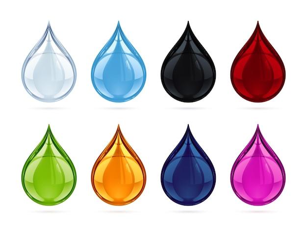Illustratie van een vloeistofdruppel in 8 verschillende kleuren.