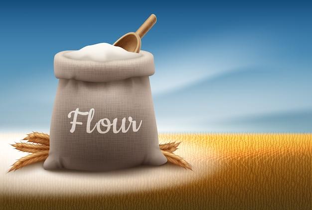 Illustratie van een volledige zak witte bloem met schop