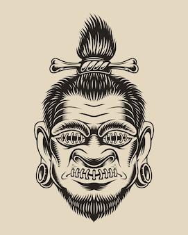 Illustratie van een voodoo-hoofd op een witte achtergrond