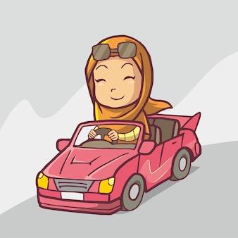 Illustratie van een vrouw die een roze auto bestuurt handgetekende kunst