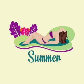 Illustratie van een vrouw die op een strand van de zomerdag zonnebaadt