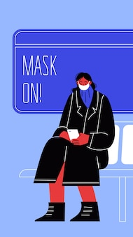 Illustratie van een vrouw die op het openbaar vervoer zit die haar gezicht bedekt.