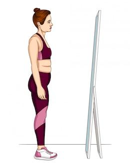 Illustratie van een vrouw in sportkleding reflectie in een spiegel kijken