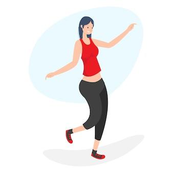 Illustratie van een vrouw terloops dansen in de middag luisteren naar muziek