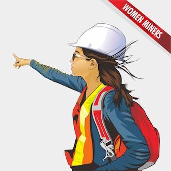 Illustratie van een vrouwelijke mijnwerker