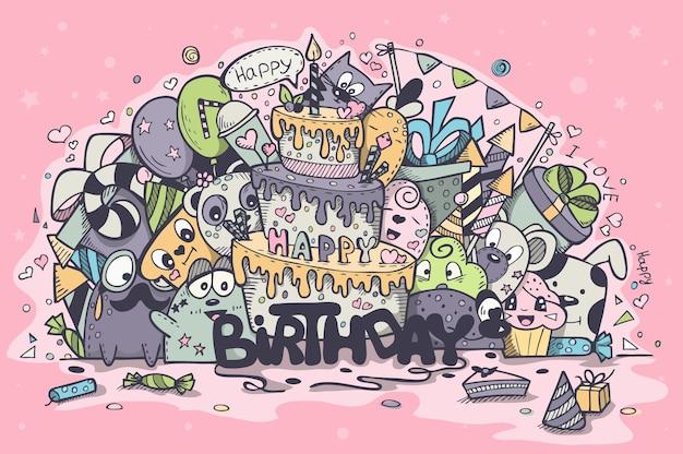Illustratie van een wenskaart voor de verjaardag van de gekleurde doodles. set 2