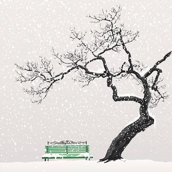 Illustratie van een winterlandschap met een boom en een bankje