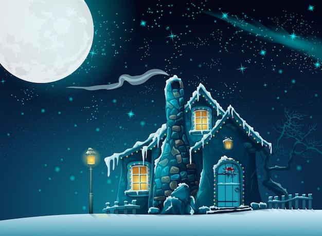 Illustratie van een winternacht met een fantastisch huis in het maanlicht