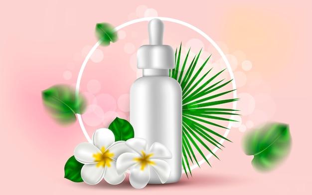 Illustratie van een witte fles voor serum.