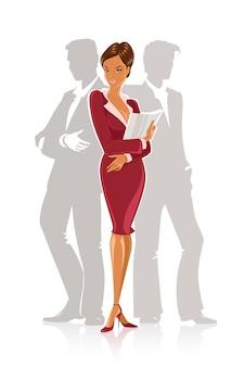 Illustratie van een zakelijke vrouw en twee collega's achter haar.