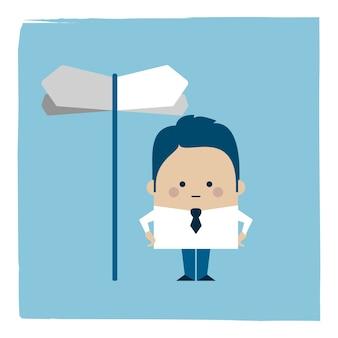 Illustratie van een zakenman die bij kruispunten opstaat