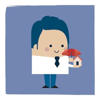 Illustratie van een zakenman die een klein huis met een paraplu beschermt