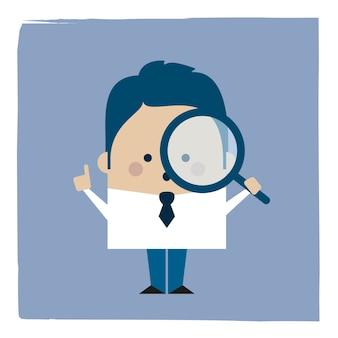 Illustratie van een zakenman die een vergrootglas houdt