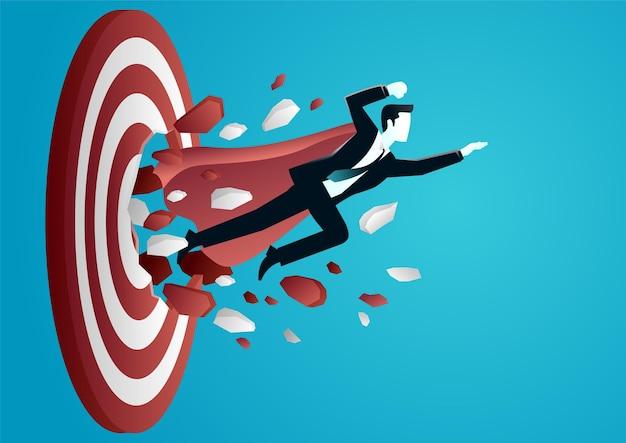 Illustratie van een zakenman die het doelbord breken