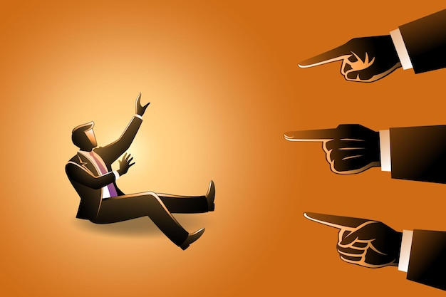 Illustratie van een zakenman die wordt gewezen door gigantische vingers, handen die wijzen om een zakenman de schuld te geven