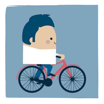 Illustratie van een zakenman die zijn fiets berijdt