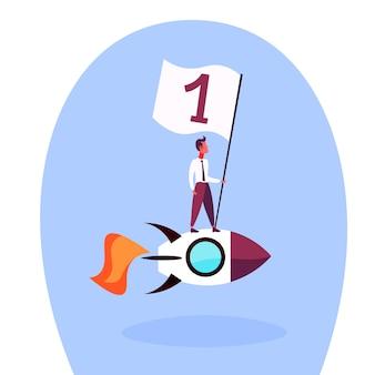 Illustratie van een zakenman op een raket