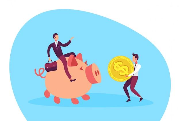 Illustratie van een zakenmanzitting op spaarvarken